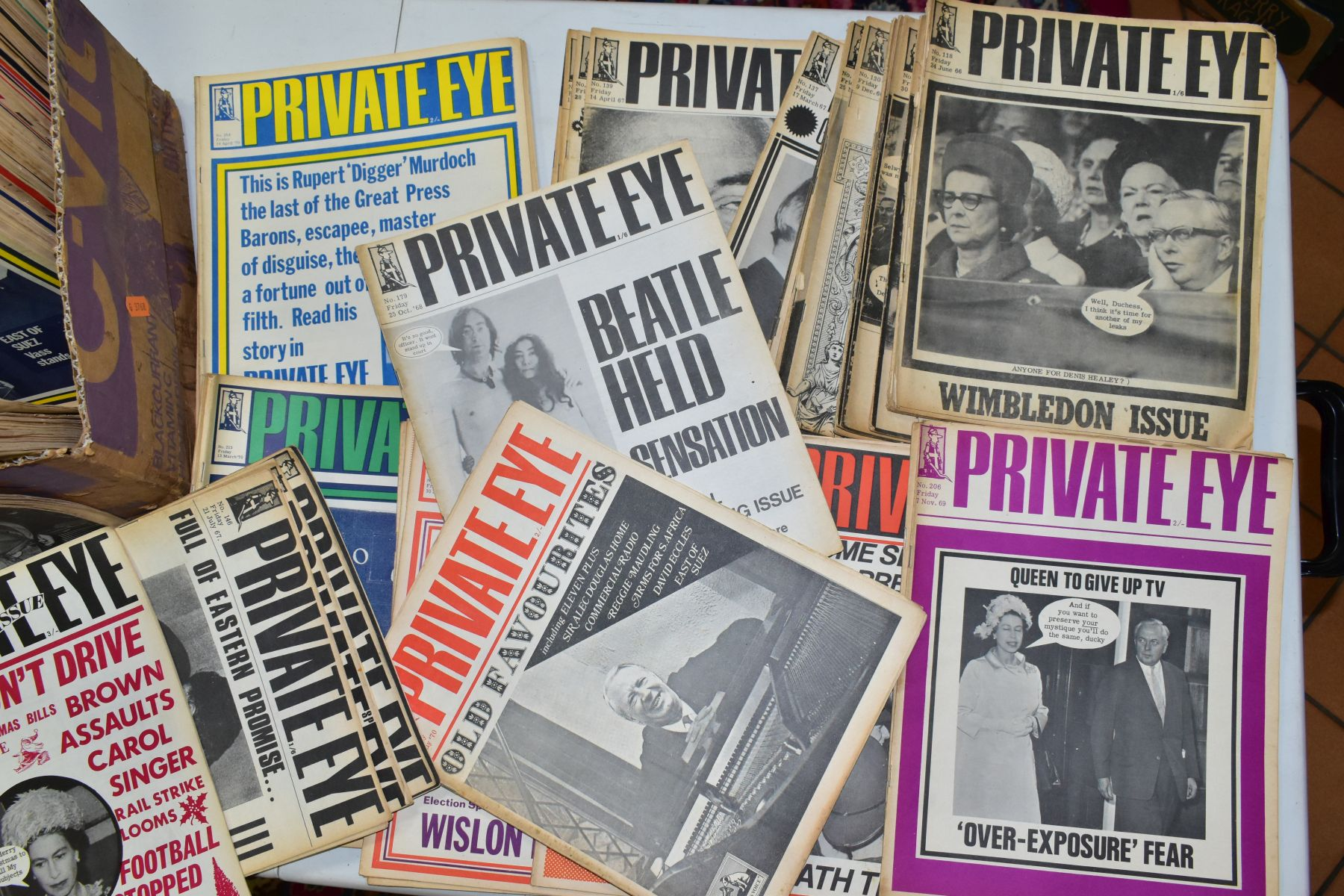 PRIVATE EYE MAGAZINE, a collection of 188 copies of Private Eye, 184 editions from 1966-1974, - Image 3 of 4