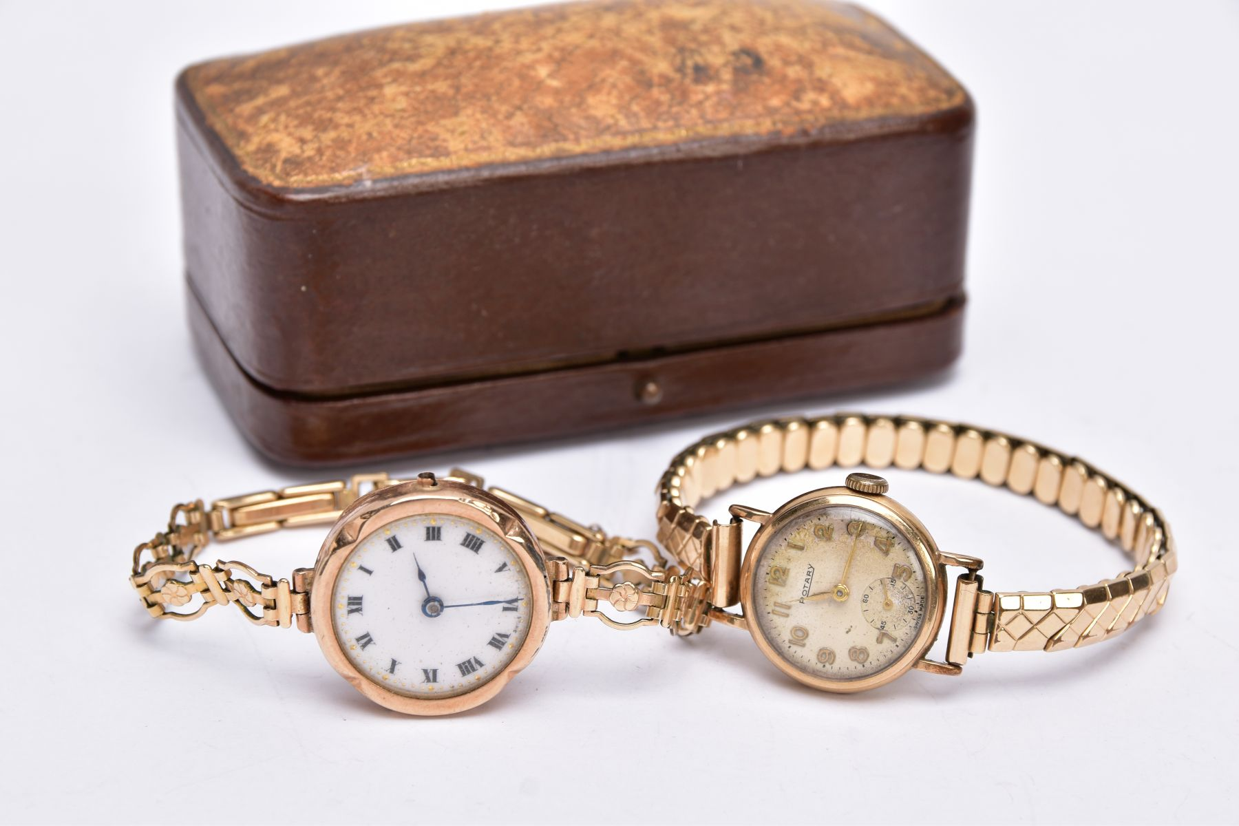 TWO GOLD CASED LADIES WRISTWATCHES, each fitted to gold plated bracelets, an early 20th century