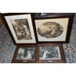 EARLY 20TH CENTURY OAK FRAMED MONOCHROME PRINTS, comprising 'For King and Country' by Graham