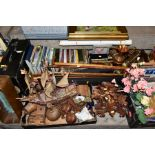 FIVE BOXES AND LOOSE OF MISCELLANEOUS ITEMS, including treen, pictures, books, metalware, clocks,