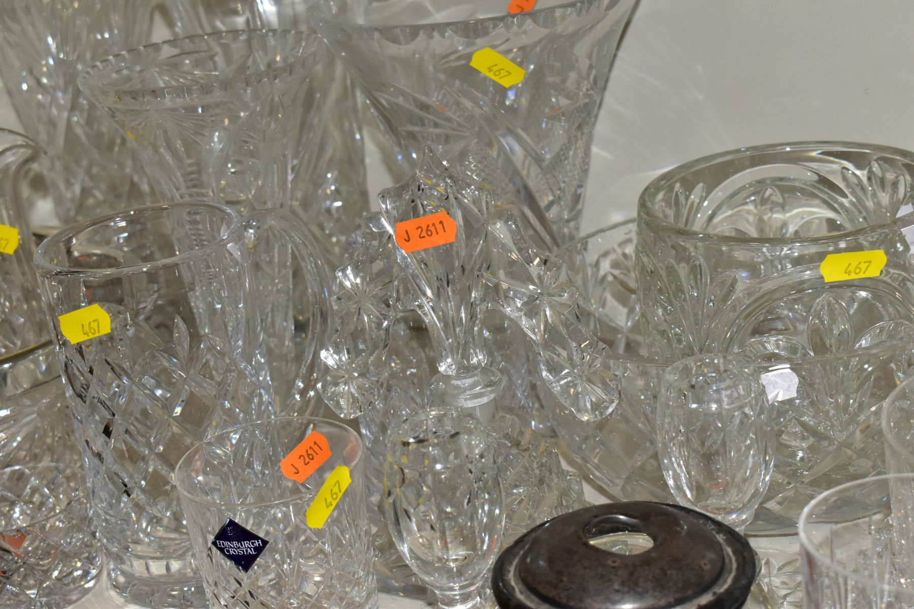 A GROUP OF CUT AND COLOURED GLASSWARES, to include a silver rimmed bowl, diameter 21cm, a Royal - Image 9 of 11