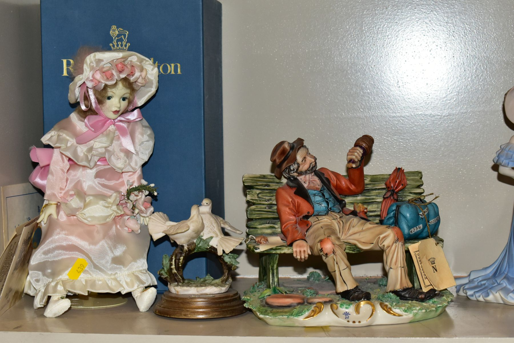 A GROUP OF CERAMIC FIGURES AND ORNAMENTS, including Capo Di Monte tramp on a bench, elderly - Image 3 of 16