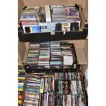 FOUR BOXES OF DVD'S AND CD'S, the DVD'S include 'Slumdog Millionaire', 'Braveheart', 'Winston