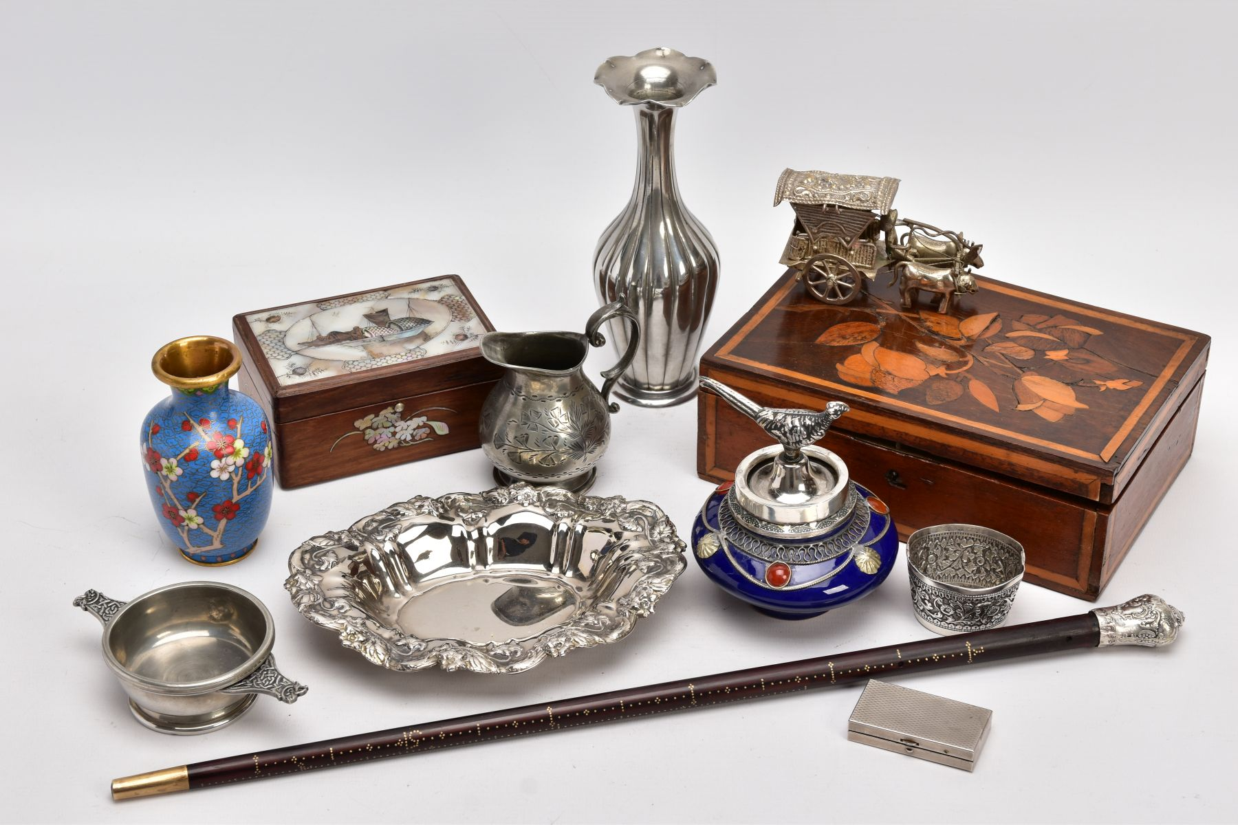 A BOX OF SILVER PLATE, COLLECTABLES AND OTHER METALWARES, including a small Indian white metal
