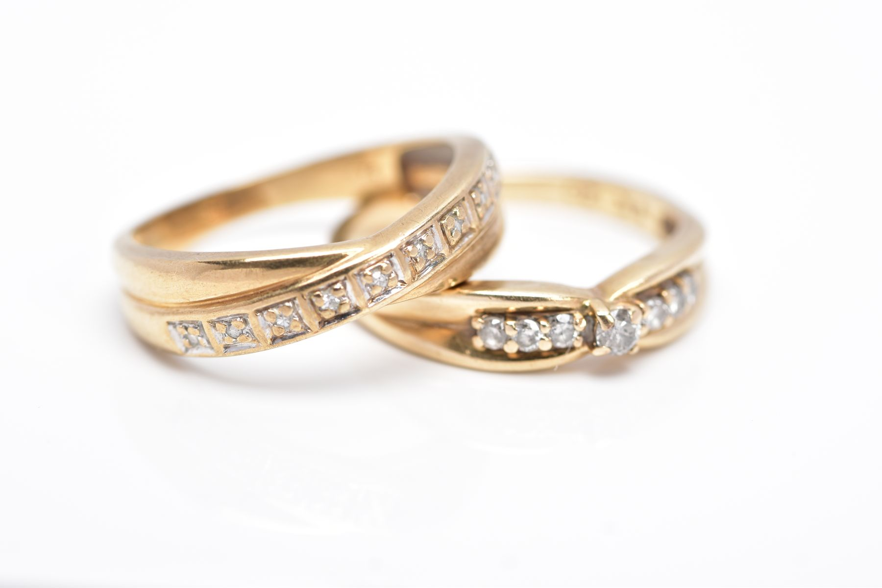 TWO 9CT GOLD DIAMOND RINGS, the first designed with a row of seven round brilliant cut diamonds, - Image 3 of 5