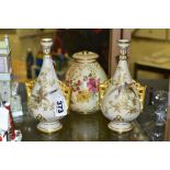 A SMALL COLLECTION OF ROYAL WORCESTER PORCELAIN, comprising a pair of blush ivory conical twin