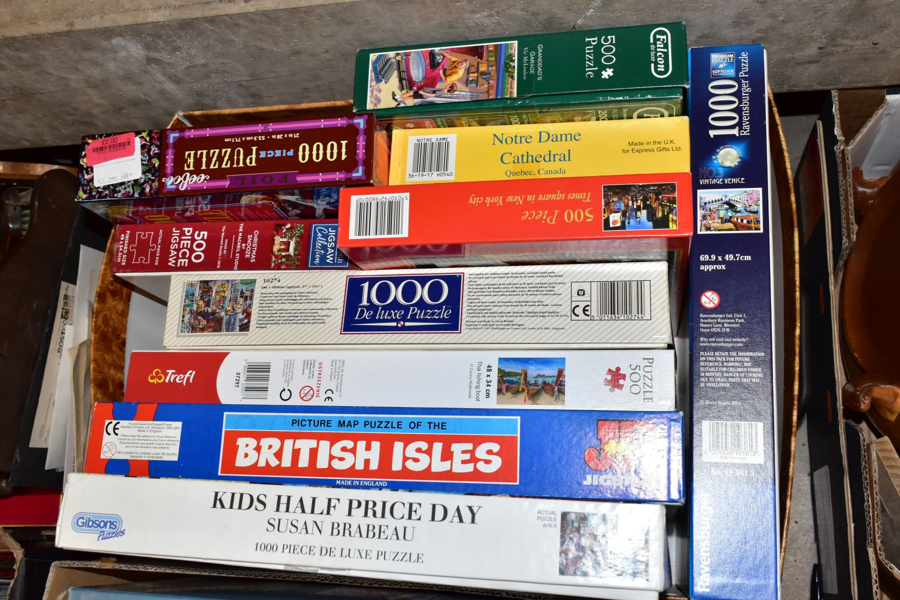 TWO BOXES OF BOXED JIGSAWS, including Gibsons 1000 piece 'Grandads Workshop', Jumbo 1000 pieces - Image 3 of 3