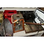 A GROUP OF COLLECTABLES, including a Royal typerwriter, a set of three Hovis bread tins in a metal
