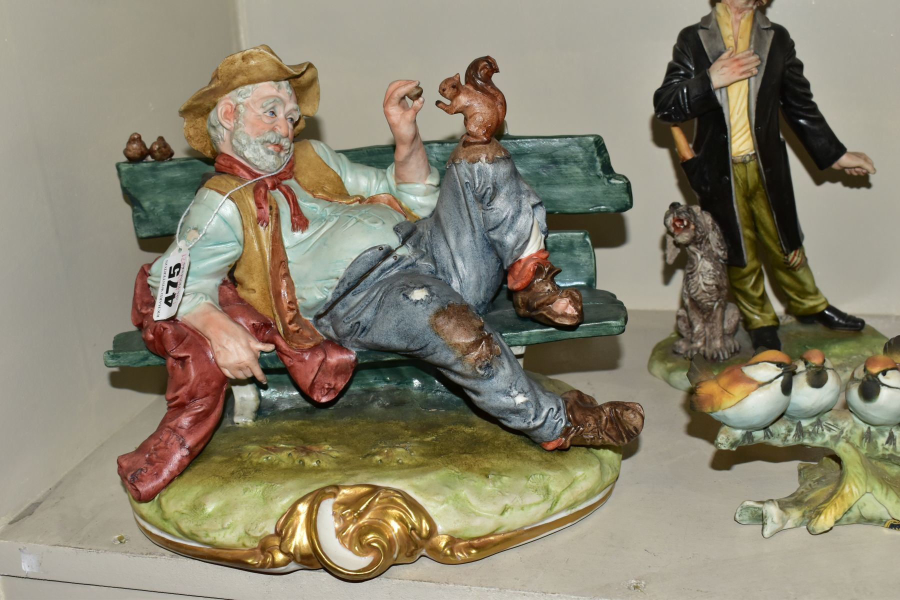 CAPODIMONTE to include a Tramp on a Bench Feeding a Squirrel, modelled by Bruno Merli, approximate - Image 2 of 7