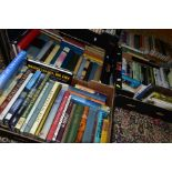 BOOKS, six boxes containing approximately two hundred and ten titles including Flora Fauna,