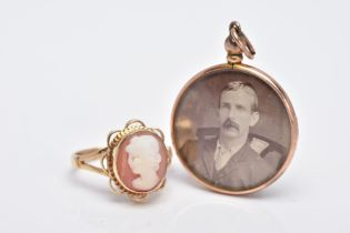 A 9CT GOLD CAMEO RING AND A DOUBLE SIDED PHOTOGRAPH, of an oval form, depicting a lady in profile,