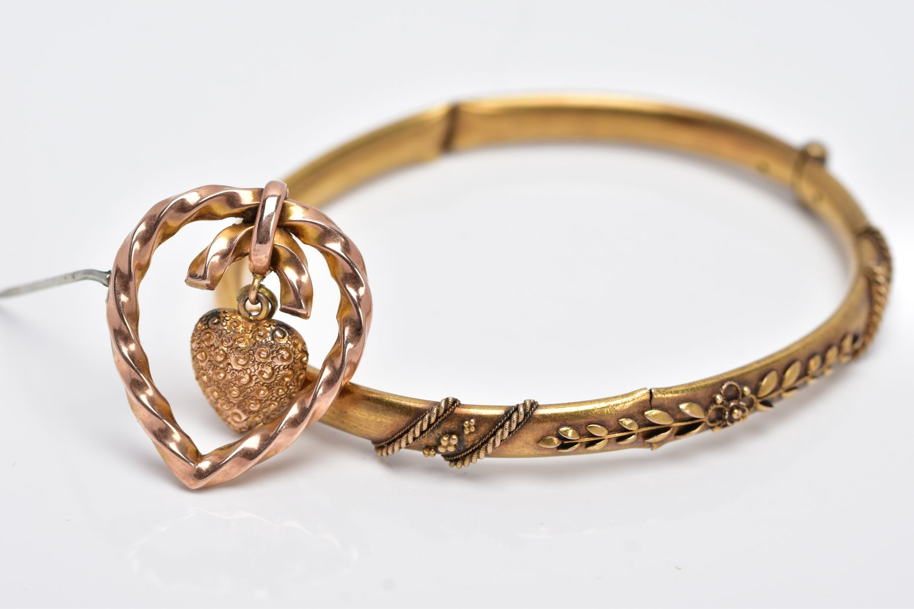 A LATE VICTORIAN BANGLE AND BROOCH, the AF hinged bangle with applied floral and bead design, - Image 2 of 4