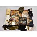 A BOX OF ASSORTED COSTUME JEWELLERY, EVENING GLOVES, AND OTHER ITEMS, to include imitation pearl