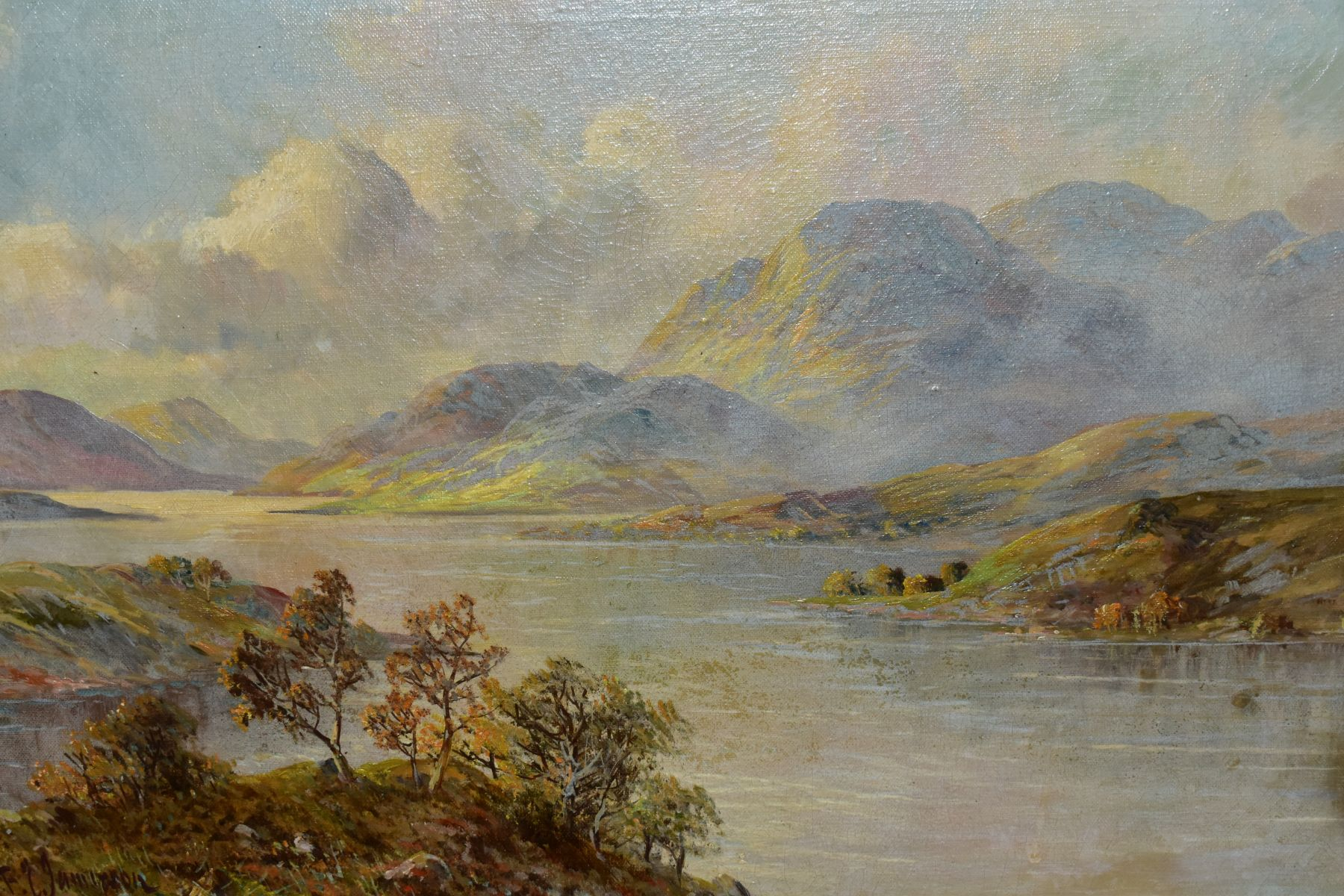 FRANCIS E.JAMIESON (1895-1950) 'LOCH KATRINE', a Scottish landscape, a large body of water to the - Image 2 of 4