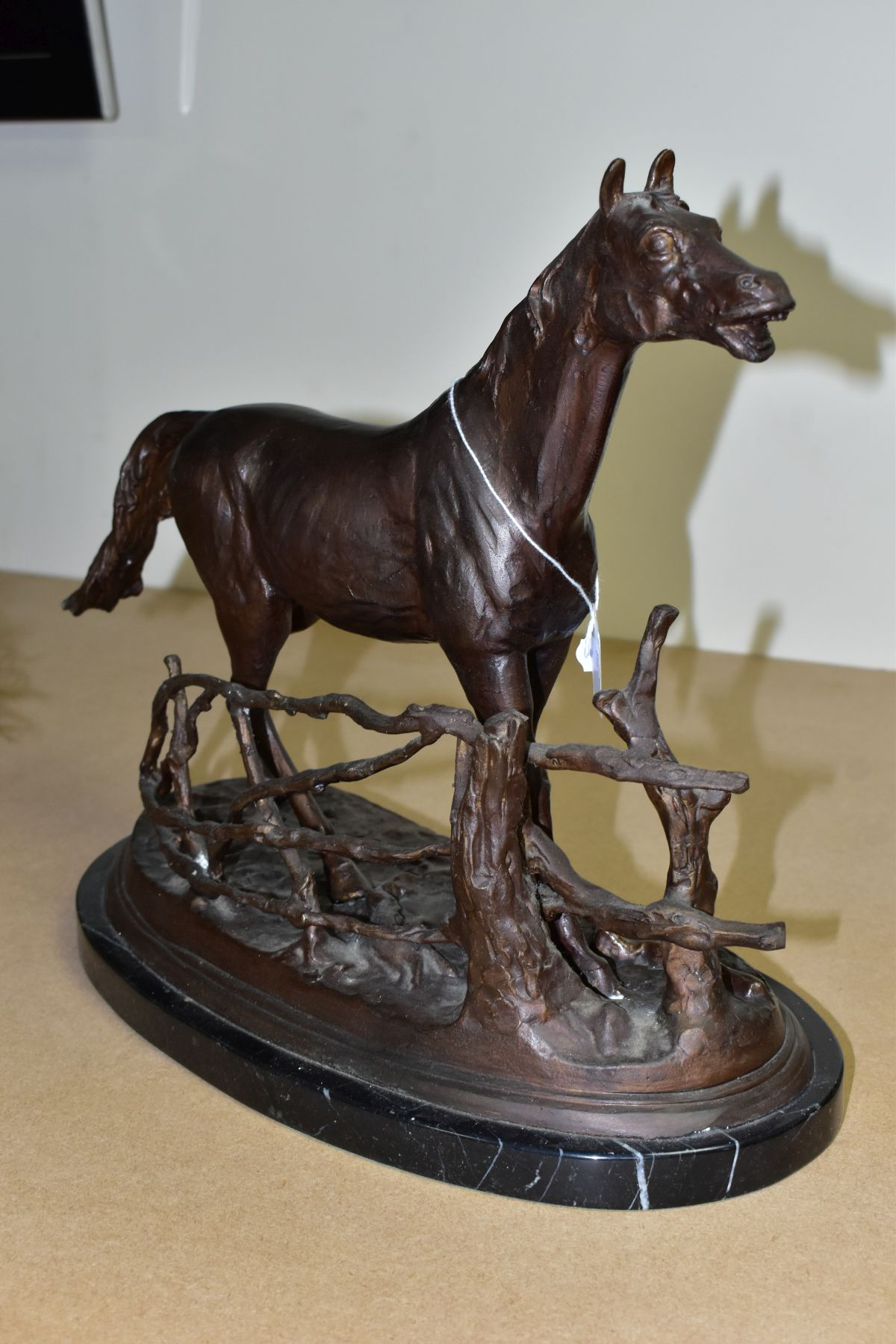 AFTER PIERRE JULES MENE 'A LA BARRIERE' a bronze sculpture of a horse beside a fence, bears a - Image 5 of 7