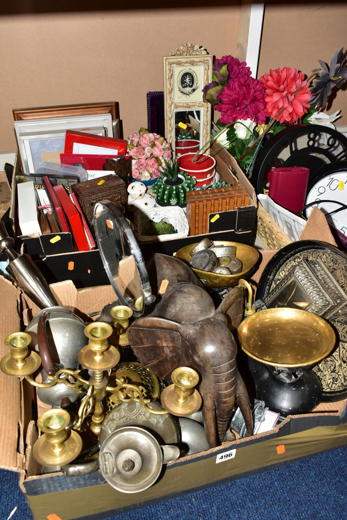 TWO BOXES AND A BASKET OF METALWARE, SUNDRIES, PICTURE FRAMES, ETC, to include various clocks (two