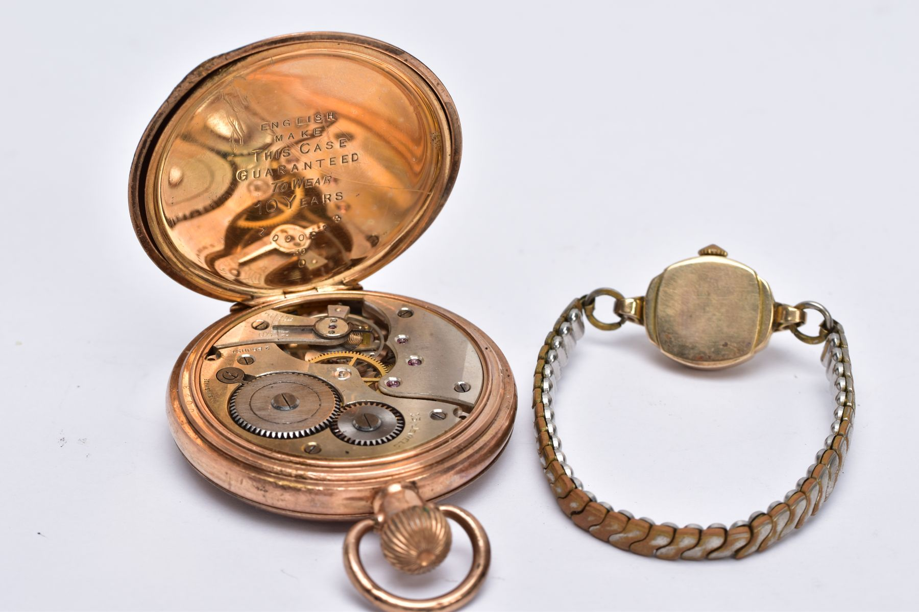 A LADIES 9CT GOLD CASED WRISTWATCH AND A GOLD PLATED POCKET WATCH, the ladies wristwatch with a - Image 4 of 5
