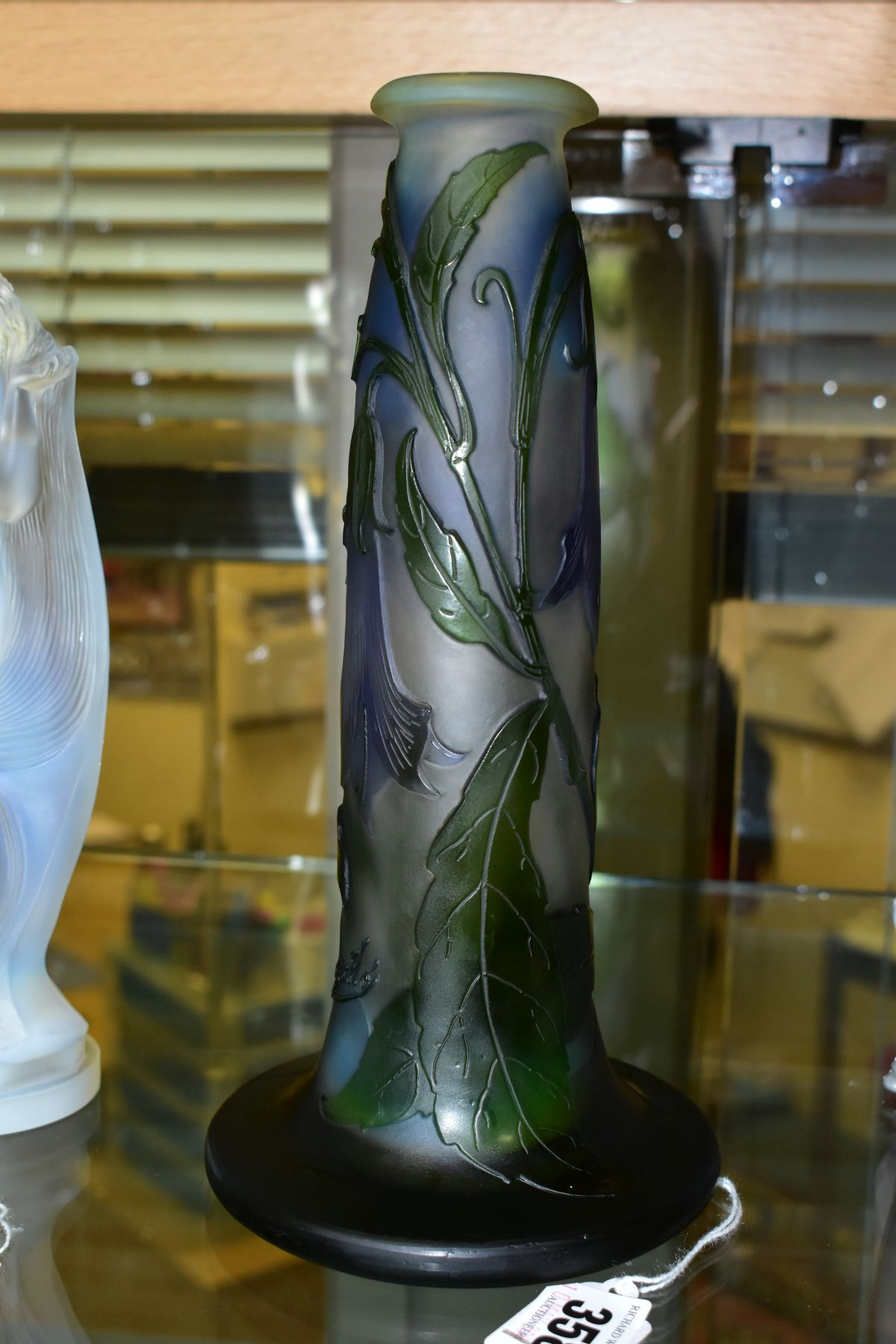 A GALLE CAMEO GLASS VASE OF CONICAL FORM, with circular flattened foot, decorated with purple bell - Image 2 of 6
