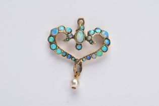 AN OPAL PENDANT, of an openwork heart form, set with oval and circular cut cabochon opals,