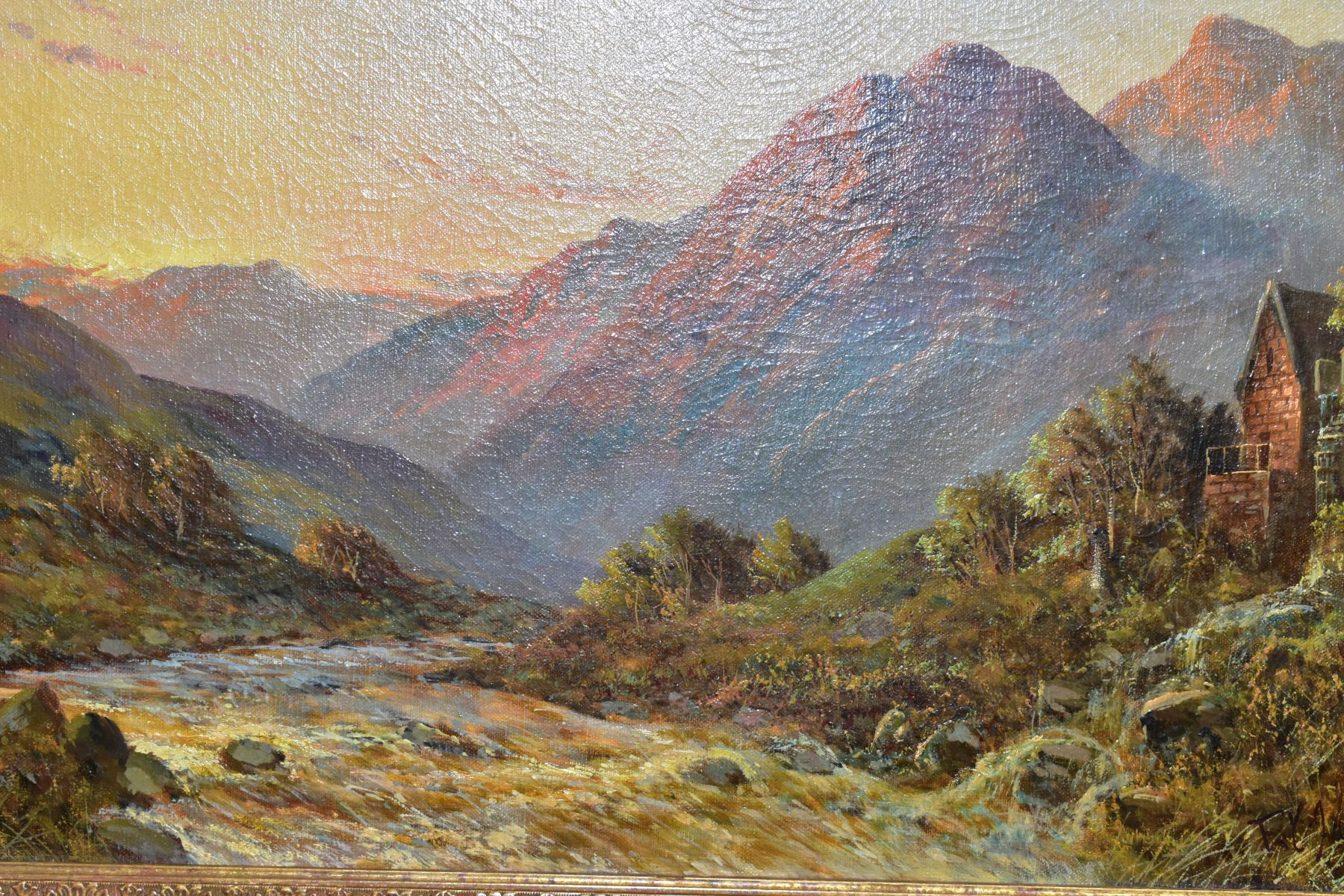 FRANCIS E JAMIESON (1895-1950) 'ALLAN WATERS NR STIRLING' a Scottish mountainous landscape with - Image 2 of 4