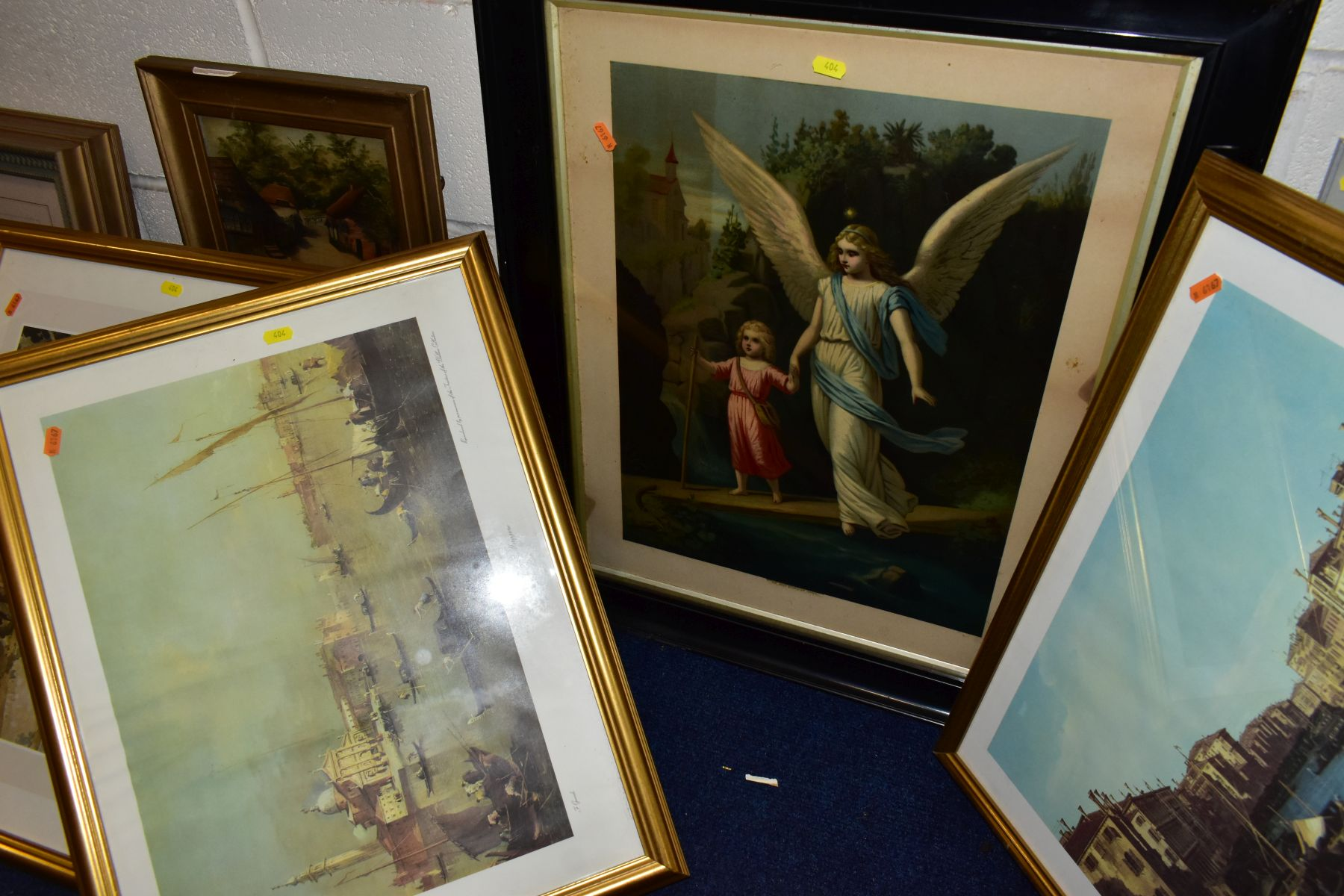 PAINTINGS AND PRINTS, ETC, to include an unsigned oil on canvas depicting a sleeping night watchman, - Image 7 of 7