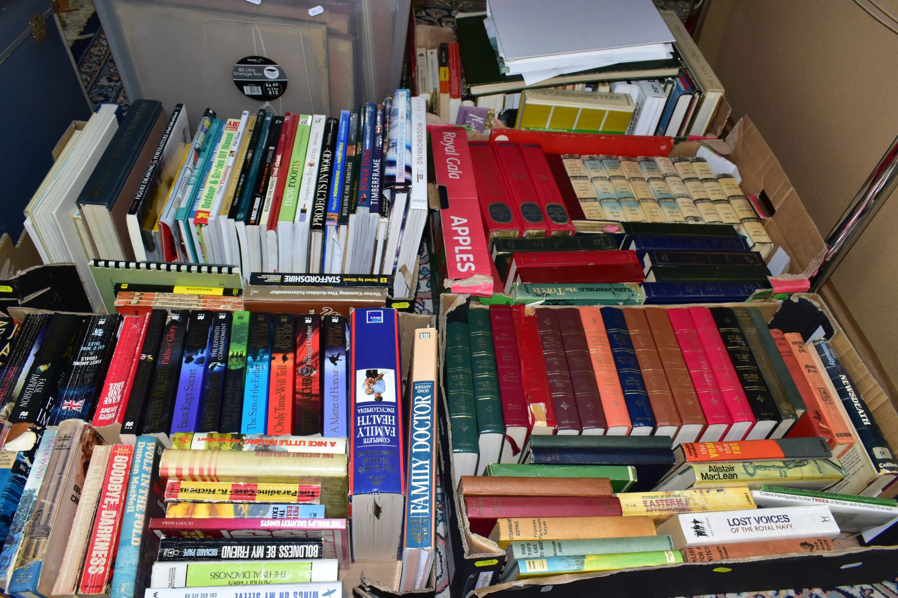 BOOKS, five boxes containing 160 titles including Atlases, cookery , animals, health, woodwork,