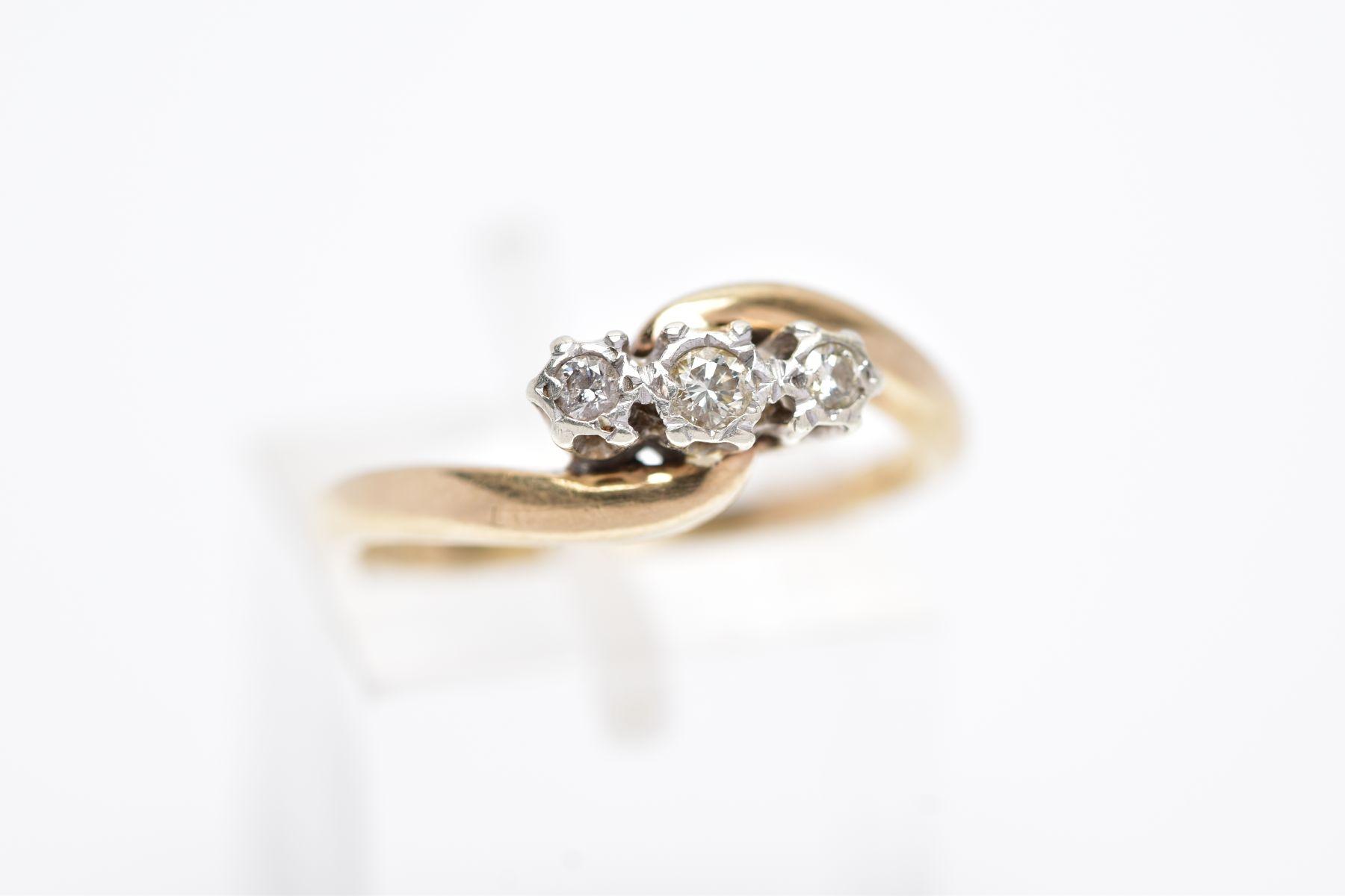 A 9CT GOLD THREE STONE DIAMOND RING, designed with three graduated round brilliant cut diamonds, - Image 4 of 4