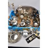 A BOX CONTAINING A QUANTITY OF SILVER PLATED ITEMS, to include coffee pots, a large tray, a cocktail