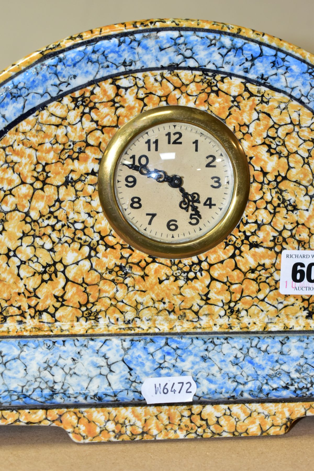 A CONTINENTAL CLOCK GARNITURE, the dome shaped porcelain clock is branded M.W inside a triangle, - Image 5 of 6