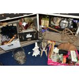 FOUR BOXES AND LOOSE METALWARE, HOUSEHOLD SUNDRIES, OIL LAMP, etc, to include board games, book