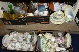 SEVEN BOXES OF TEA/DINNER WARES, GLASSWARES etc, to include a Portmeirion (seconds) part dinner