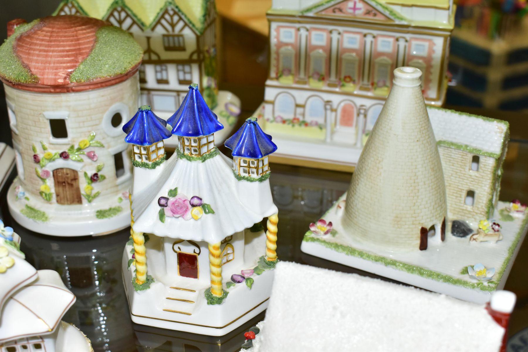 NINE COALPORT FINE BONE CHINA COTTAGES/BUILDINGS, comprising 'The Parasol House' (several flowers - Image 5 of 9