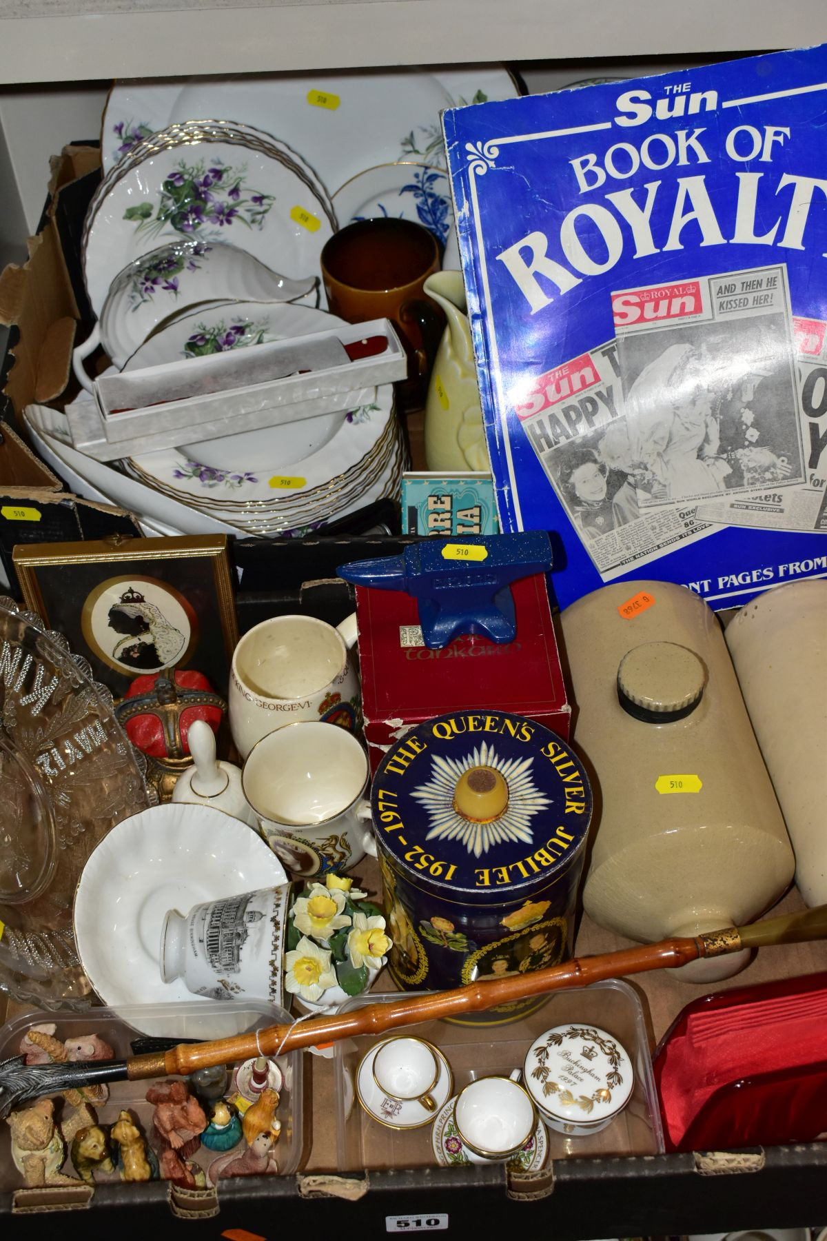 TWO BOXES OF CERAMICS AND SUNDRY ITEMS, ETC, to include Mayfair bone china part dinner service,