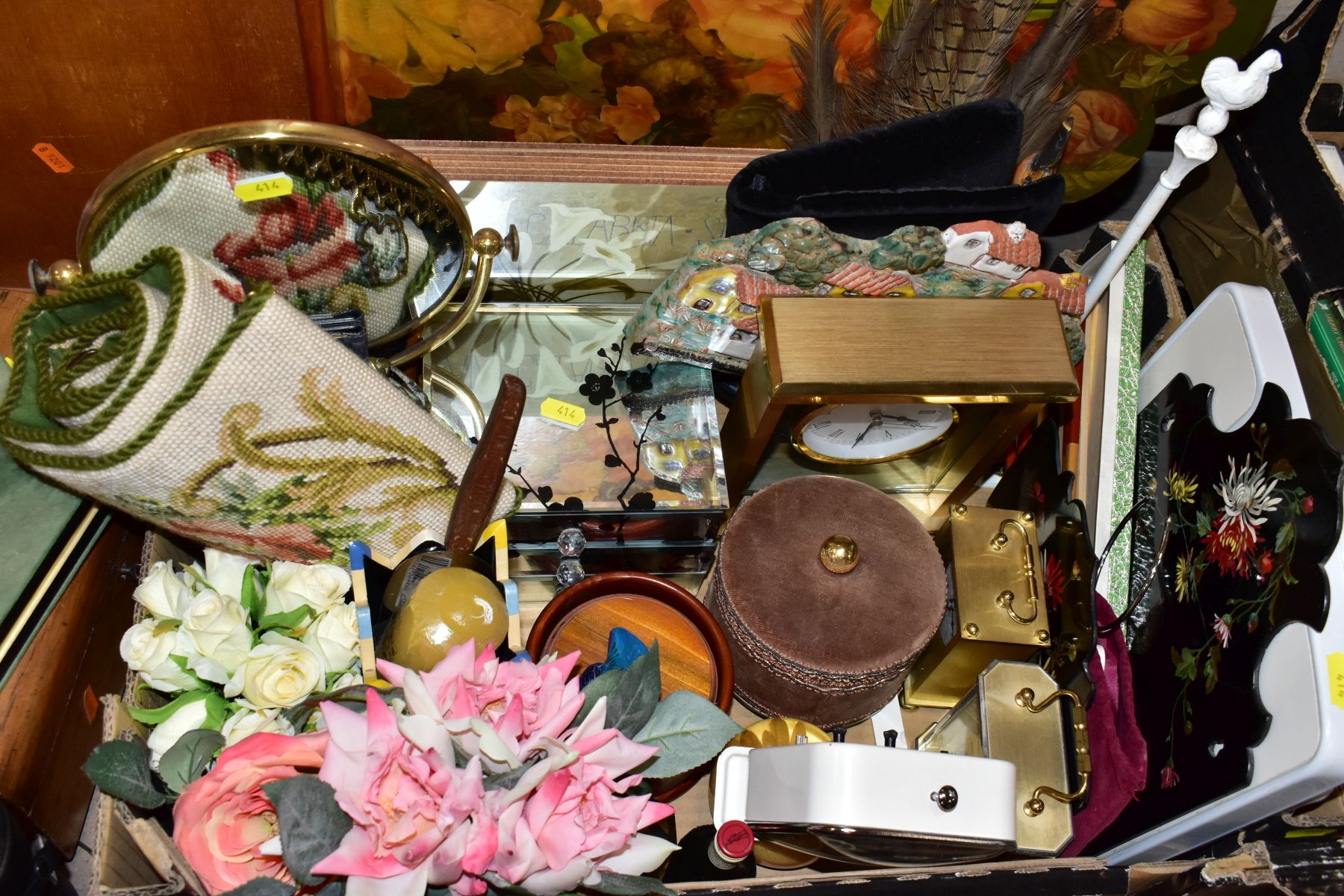 TWO BOXES AND LOOSE OF METALWARE, TREEN, MISCELLANEOUS ITEMS, ETC, including EPNS trays and galeried - Image 4 of 10