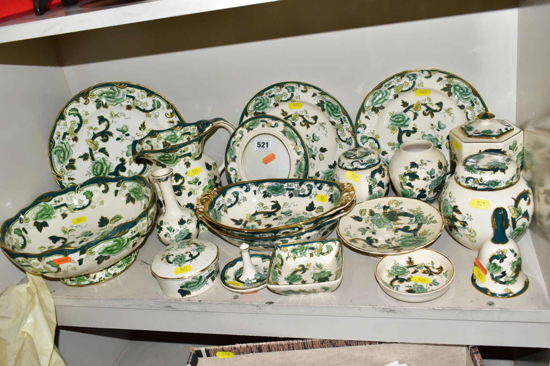 A COLLECTION OF MASONS IRONSTONE 'CHARTREUSE' PATTERN PLATES, JUGS, BOWLS, GINGER JARS, etc,