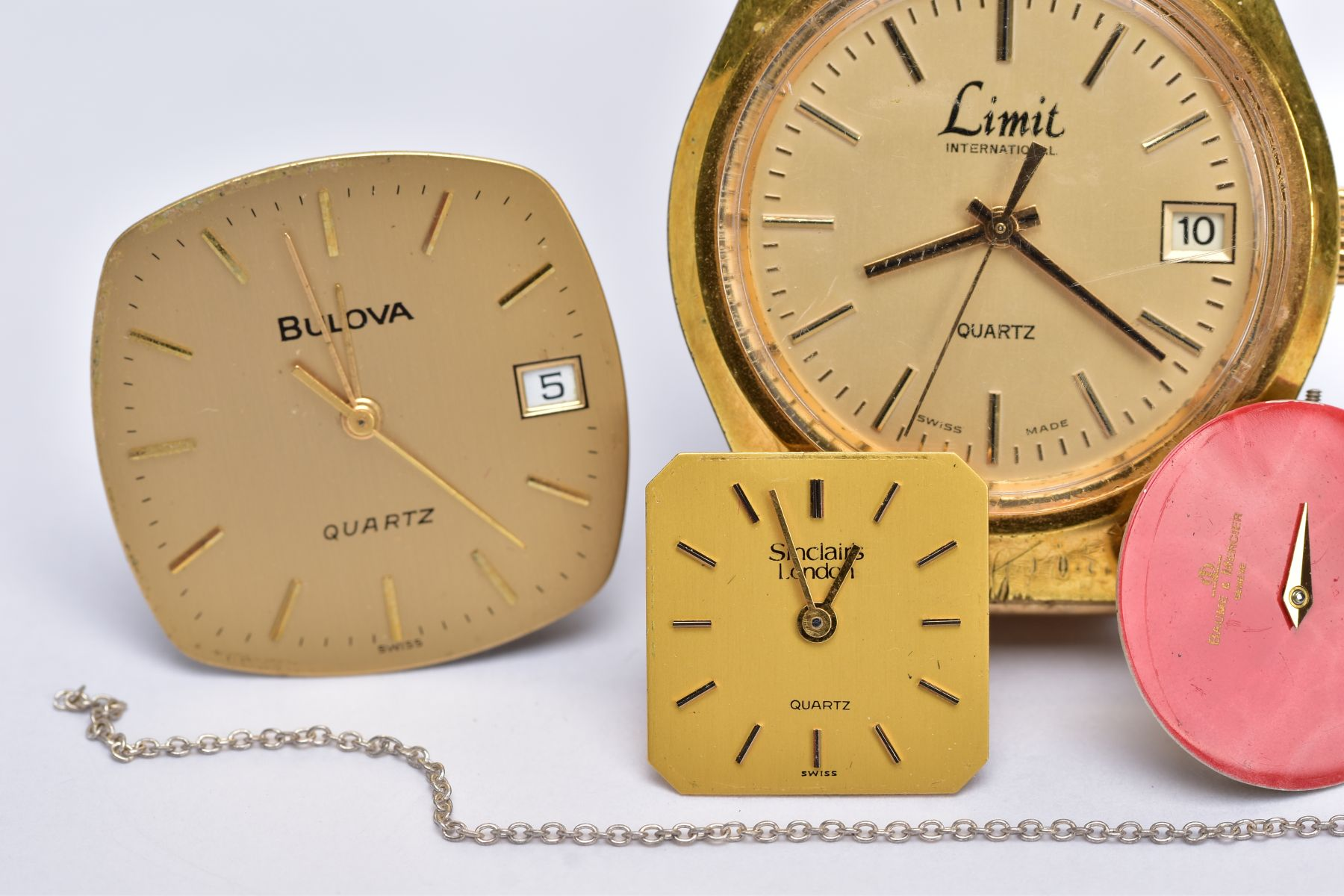 A GENTS 'LIMIT' WRISTWATCH AND WATCH PARTS, the quartz 'Limit' wristwatch, round gold dial signed ' - Image 3 of 7