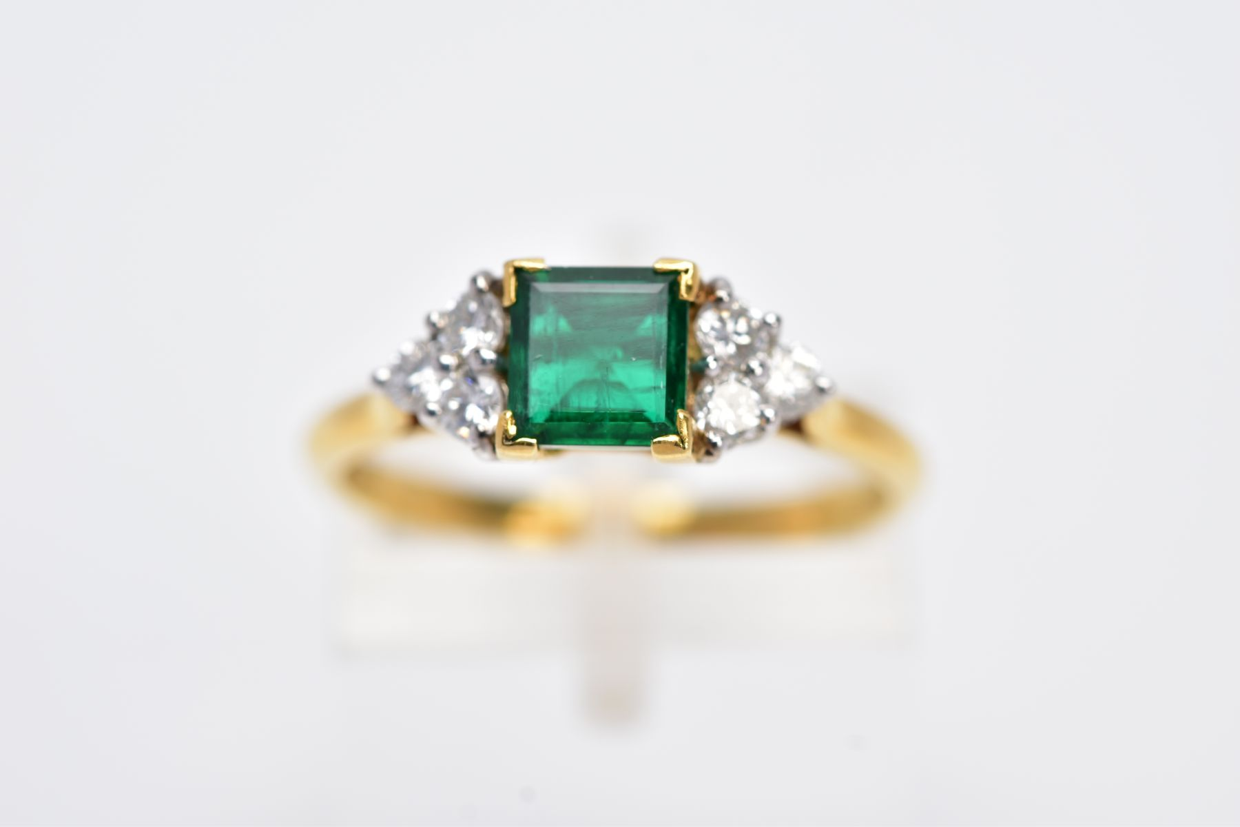 A LATE 20TH CENTURY 18CT GOLD EMERALD AND DIAMOND RING, centring on a square cut emerald measuring - Image 5 of 5