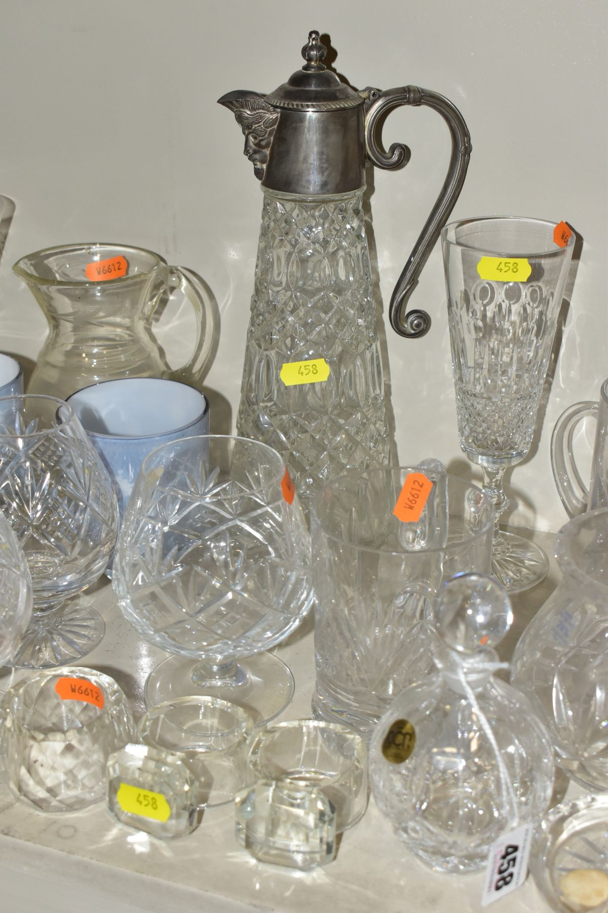 A SMALL QUANTITY OF CLEAR AND COLOURED GLASSWARE, including an Edinburgh Crystal vase, height 25. - Image 6 of 10