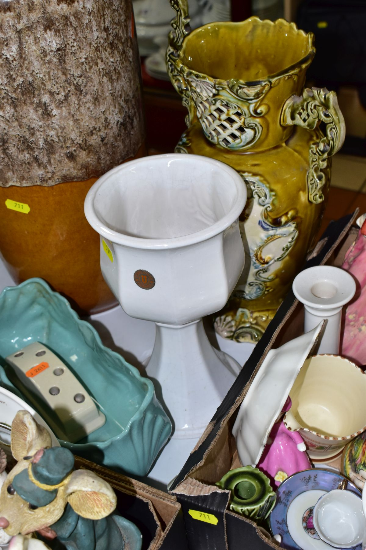 TWO BOXES AND LOOSE CERAMICS AND GLASSWARE, including animal bird and figural ornaments, two - Image 6 of 10