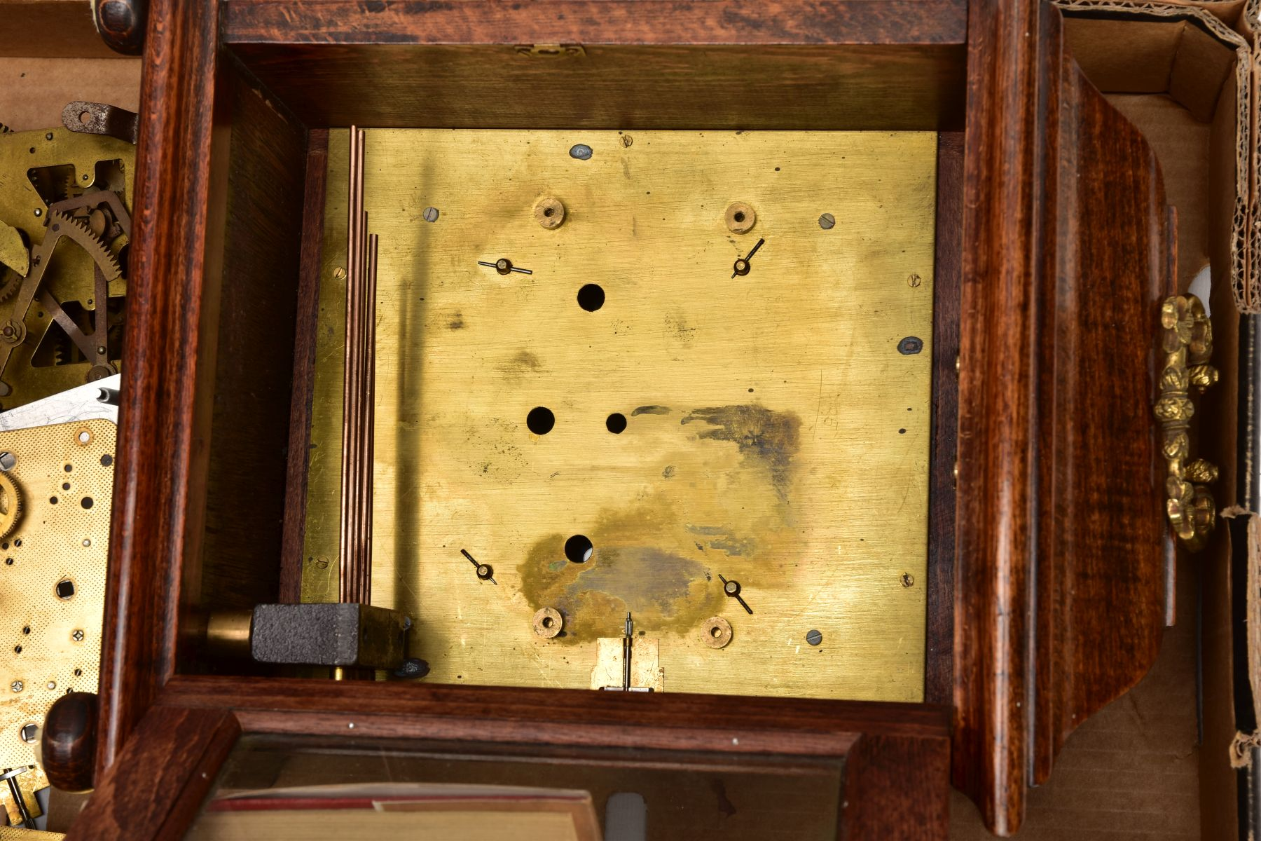 BOX CONTAINING A QUANTITY OF CLOCK PARTS AND MOVEMENTS, to include a wooden outer case with a - Image 6 of 6