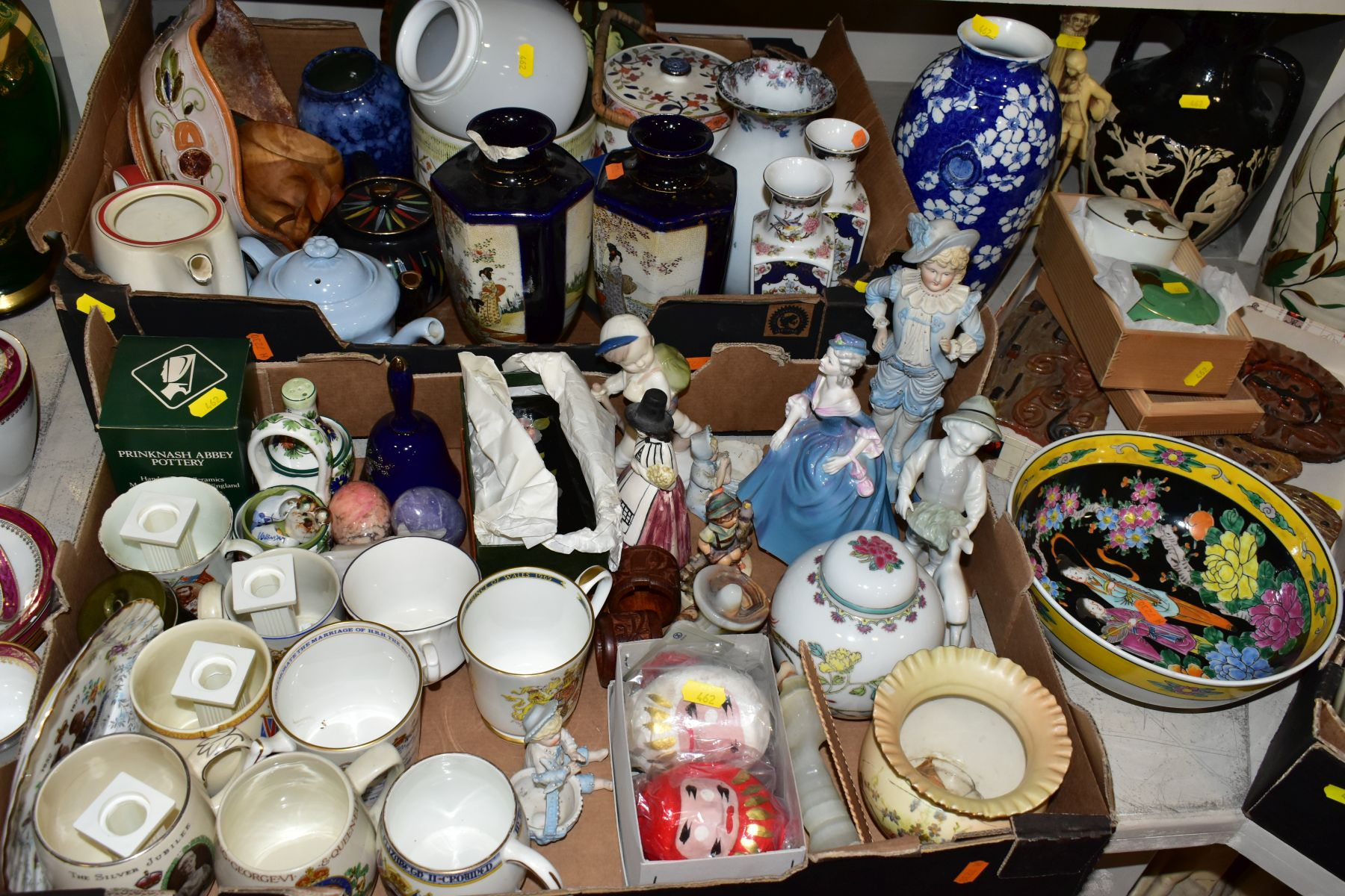 TWO BOXES AND LOOSE ORNAMENTS, VASES, ROYAL COMMEMORATIVES etc, to include Cauldon Ware Prunus