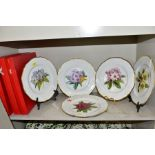 A SET OF FIVE SPODE RHODODENDRONS PLATES, titled 'Dalhousie', ' Fortune', 'Gwylt King', 'Hodgsoni'