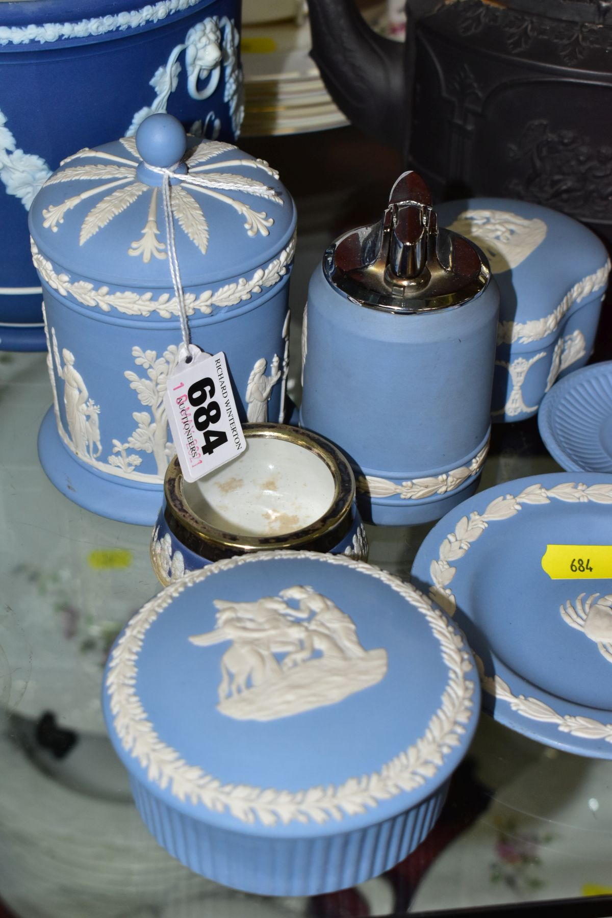 CERAMICS to include blue jasper ware trinkets, etc, Wedgwood Clio clock, black basalt teapot with - Image 4 of 8