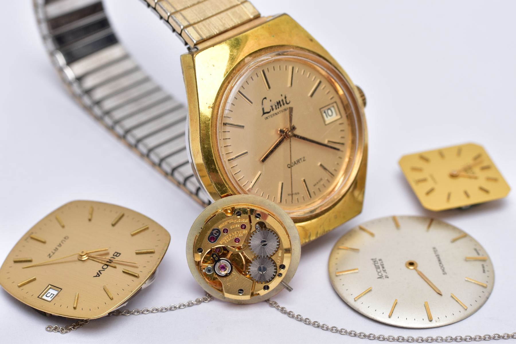 A GENTS 'LIMIT' WRISTWATCH AND WATCH PARTS, the quartz 'Limit' wristwatch, round gold dial signed ' - Image 5 of 7
