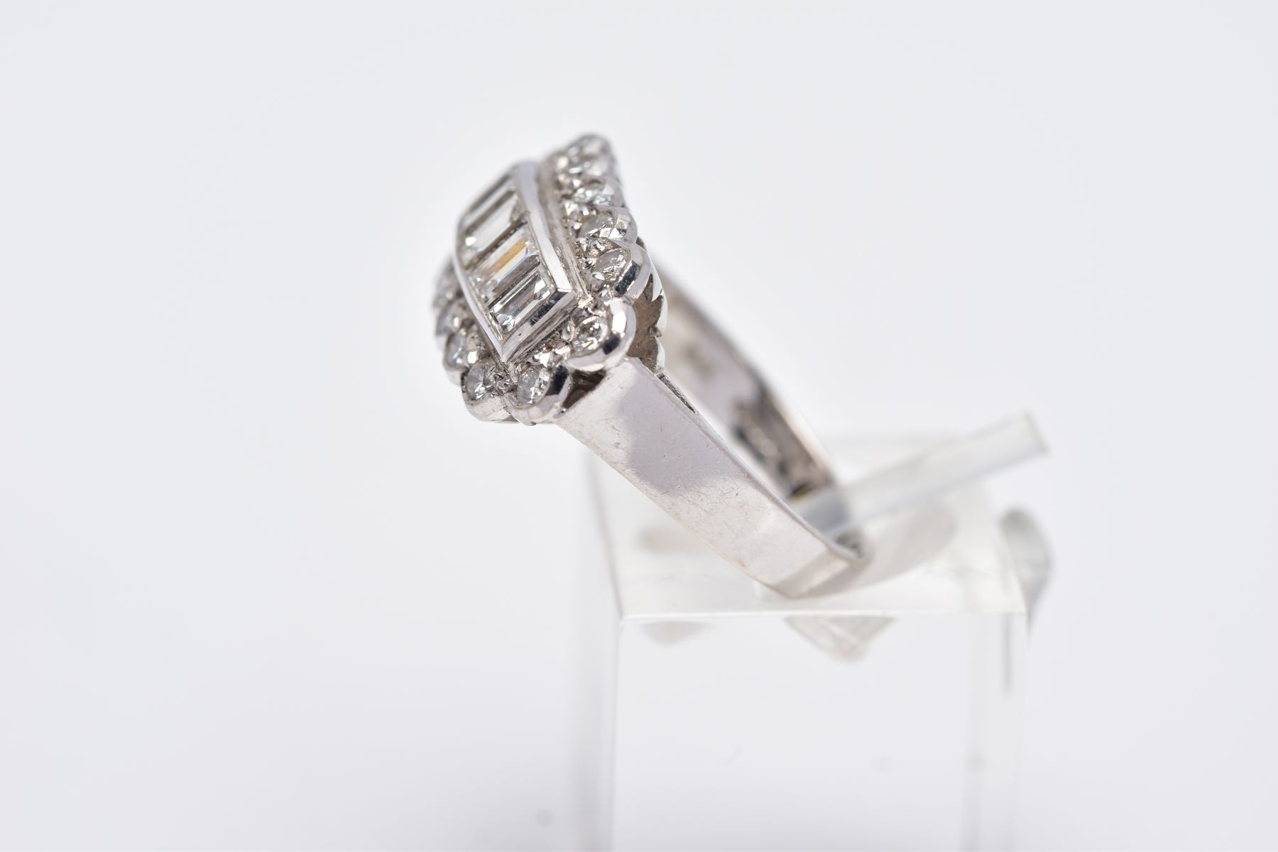 A LATE 20TH CENTURY 18CT WHITE DIAMOND DRESS RING, comprising five trap cut diamonds each - Image 2 of 5