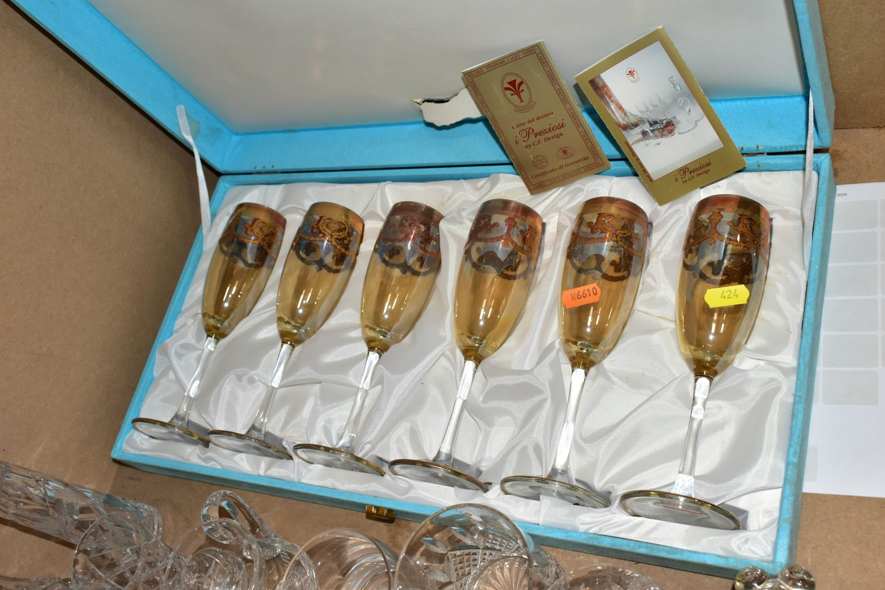A GROUP OF GLASSWARE, including a boxed set of six Crystallera F.lli Fumo wine glasses, one set - Image 3 of 11