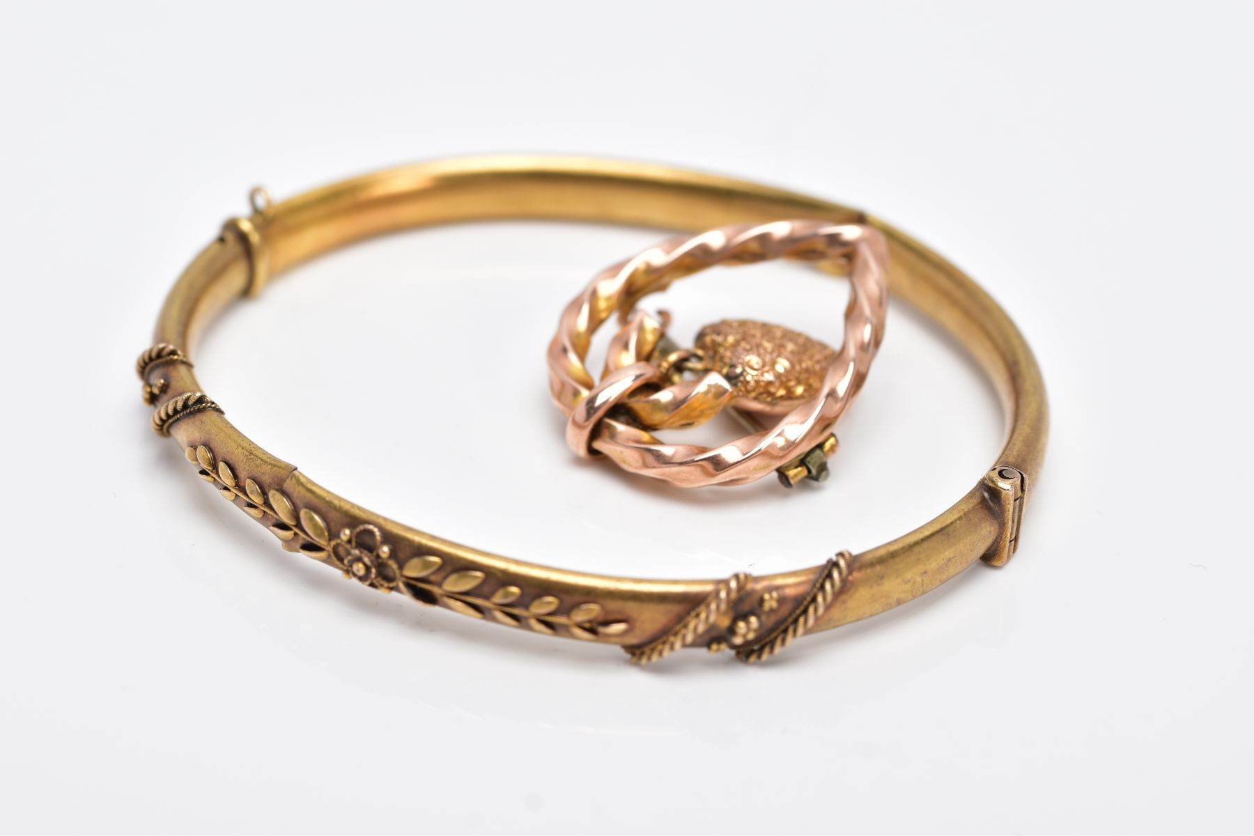 A LATE VICTORIAN BANGLE AND BROOCH, the AF hinged bangle with applied floral and bead design, - Image 4 of 4
