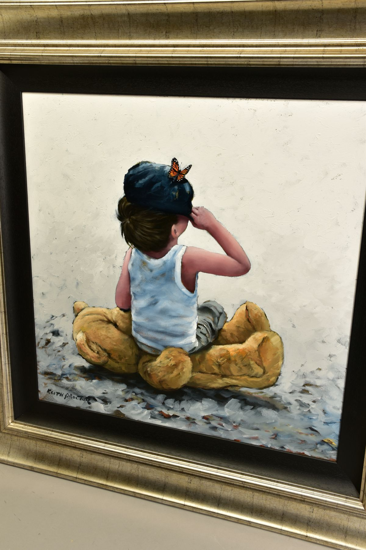 KEITH PROCTOR (BRITISH 1961) 'HAS HE GONE YET?' a small boy, his teddy bear and a butterfly, - Image 4 of 6