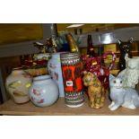 A GROUP OF MODERN CERAMICS, GLASSWARE, BRONZED RESIN FIGURES, ETC, including three Denby vases,