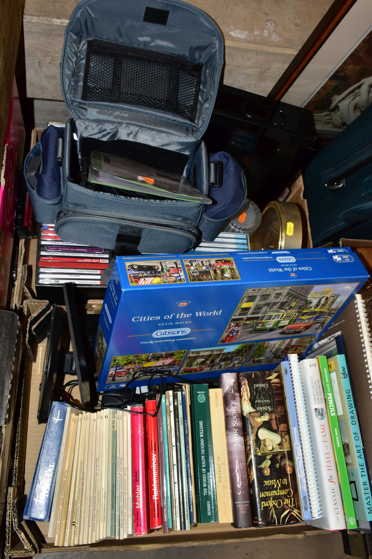 THREE BOXES AND LOOSE CERAMICS, GLASS, BOOKS, CD'S, A SUITCASE, ETC, including Royal Doulton Juno - Image 3 of 10